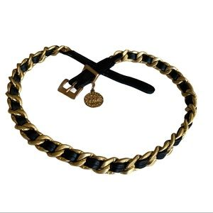 Express Black Leather and Gold Chain Belt